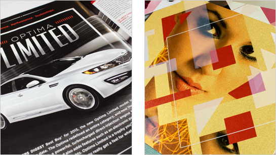 Hexanine: Kia Motors Open Road Magazine and Gruppo Cordenons Stardream swatchbook